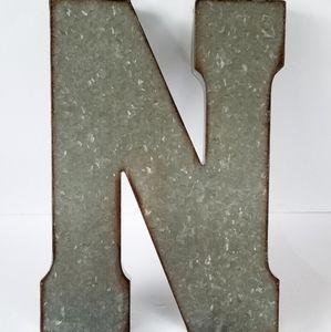 """""""N"""" Rustic Industrial galvanized metal letter N"""